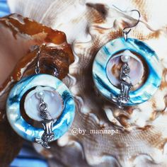 "Earrings ""The Mermaid"". Natural nacre, shells and pearls."