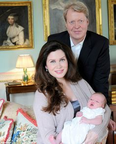 The Earl and Countess Spencer with newborn daughter Lady Charlotte Diana Spencer at their home in Althorp
