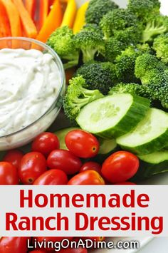 Homemade Ranch Dressing Recipe - Ranch Dip Recipe - - This homemade ranch dressing recipe is quick and easy to make and is versatile for salads, vegetables and many other foods. It also makes an easy party dip! Ranch Dressing Recipe, Homemade Ranch Dressing, Salad Dressing Recipes, Salad Dressings, Homemade Spices, Homemade Seasonings, Hummus, Dip Recipes, Healthy Recipes