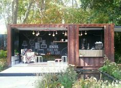 Container House - Another Shipping Container 'Cafe' (Dunway Enterprises) clickbank. - Who Else Wants Simple Step-By-Step Plans To Design And Build A Container Home From Scratch? Container Architecture, Container Buildings, Sustainable Architecture, Architecture Design, Residential Architecture, Contemporary Architecture, Café Container, Container Coffee Shop, Cafe Design