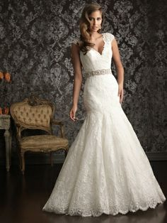 Trumpet/Mermaid V-neck Lace Satin Floor-length White Beading Wedding Dresses at Millybridal.com