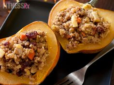 To cut the calorie count on our beloved Thanksgiving stuffing, Daphne Oz shared a healthy, low-calorie approach with her Stuffed Acorn Squash Recipe. This is served in acorn squash, which looks great and festive Healthy Dishes, Healthy Eating, Healthy Recipes, Healthy Food, Clean Eating, Veggie Dishes, Diabetic Recipes, Healthy Meals, Vegan Meals
