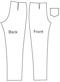 Diagram of pattern pieces of Slim Cut Trousers Sewing Pattern. Download Online PDF Sewing Pattern 921. An Angela Kane design.