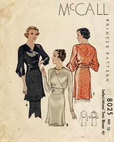 McCall 8025 A, cross over front, cool sleeve cuffs