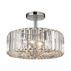 Westmore Lighting Clarion 13-in W Polished Chrome Crystal Crystal Semi-Flush Mount Light