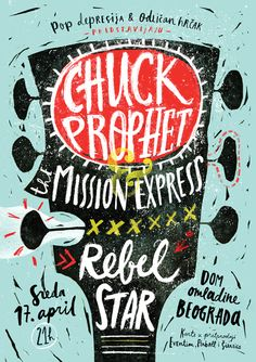 #Illustration #Type - Chuck Prophet - Concert Poster by Tamara Pešić, via Behance