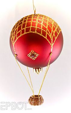 Hot air balloon tutorial using Christmas ornaments and dollhouse miniature baskets