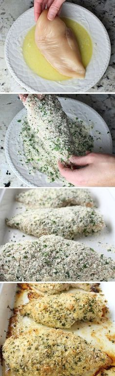 Parmesan Crusted Chicken: Easy enough for a weeknight but elegant enough for entertaining! Baked in lemon, garlic, breadcrumbs, Parmesan, & fresh parsley. I will eliminate the breadcrumbs! I Love Food, Good Food, Yummy Food, Tasty, Cooking Recipes, Healthy Recipes, Tofu Recipes, Mexican Recipes, Turkey Recipes