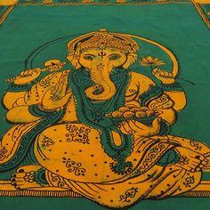 Small Batik Green Ganesha Bedding Sheet Bedspread Throw Tapestry