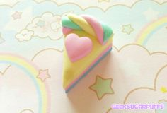 Polymer Clay Kawaii Pastel Necklace Marshmallow Heart Cake