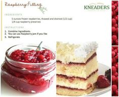 Kneaders Fresh Raspberry Filling adds a tart, sweet burst of summer flavor to your cakes and pies. Ripe for the picking! Cupcake Recipes, Cupcake Cakes, Dessert Recipes, Cupcakes, Desserts, Raspberry Cake Filling, Raspberry Preserves, Cooking Tips, Cooking Recipes