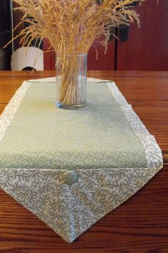 Green table runner in floral pattern sz by BlessingsandBabies, $12.00