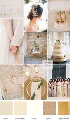 The style of the wedding is a big aspect of choosing the wedding color scheme. Champagne wedding colors schemes - modern tone with a chic wedding color palette. A delicate combination of champage ivory pearl and gold Champagne Wedding Colors Scheme, Champagne Wedding Decorations, Gold Wedding Colors, Wedding Color Schemes, Wedding Flowers, Color Schemes Colour Palettes, Gold Color Scheme, Gold Colour, Chic Wedding