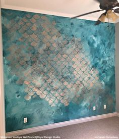 Moroccan Scallops Wall Stencil Wall Stencils Furniture - Our Moroccan Scallops Wall Stencil Is A Geometric Fish Scale Design That Is A Classic Pattern With A Modern Feel This Stencil Includes A Free Ceiling Filler Stencil Element To Allow You To Finish Of