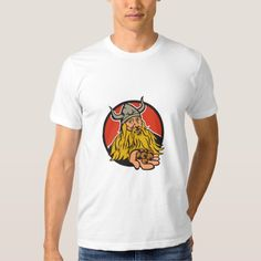 Viking Handing Hazelnut Circle Retro Tee Shirt. Illustration of a viking warrior raider barbarian handing hazelnut facing front set inside circle on isolated background done in retro style. #Illustration #VikingHandingHazelnut