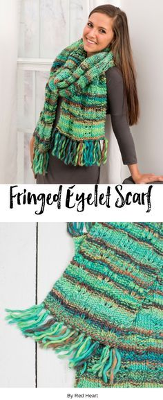 Fringed Eyelet Scarf knit in Evermore. Add a bit of greenery into your cold weather wardrobe with a gorgeous scarf. The bulky yarn and easy pattern is a fun knit! It's perfect for gifts, too!