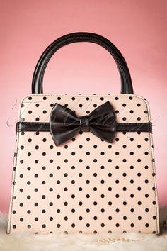 Banned - 50s Mabel Polkadot Handbag in Cream