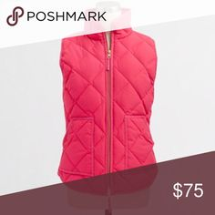j crew quilted puffer vest Gorgeous quilted puffer vest in seaside coral from J Crew Factory. Layers perfectly with a fun plaid shirt or your favorite grey sweater! Size medium. Brand new with tags! J. Crew Jackets & Coats Vests