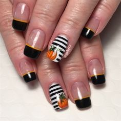 Instead of leaving her tips white, I thought they would compliment the black stripes in the pumpkin design if I painted her French tips black w/ the orange accent. I love how these turned out!!!