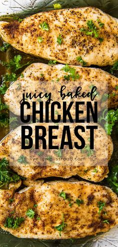 Learn how to make the most flavorful, tender and juicy easy baked chicken breasts - no more dry chicken! Five minutes prep and just 20 minutes in the oven!