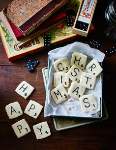 Anyone for a rather festive game of scrabble? Flora Shredden makes the first move with her family friendly fun board game biscuits Tea Party Games, Kids Party Games, Party Snacks, Christmas Biscuits, Christmas Baking, Christmas Cookies, Christmas Diy, Christmas Board Games, Iced Biscuits