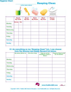 Life With Toddlers: Free Printable Hygiene Charts for Toddlers Preschool Kids