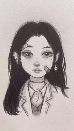Indie Drawings, Art Drawings Sketches Simple, Cute Drawings, Sketch Art, Gothic Drawings, Pencil Art Drawings, Pretty Art, Cute Art, Arte Copic