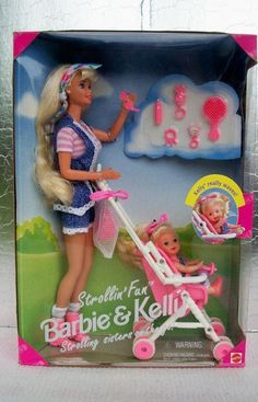 1995 Barbie Kelly Strollin' Fun NRFB BuyItNow stroller Barbie, had this one too still have her outfit and baby toys Barbie Sets, Barbie I, Baby Barbie, Barbie Stuff, 90s Childhood, My Childhood Memories, Vintage Barbie, Vintage Toys, Barbie Kelly