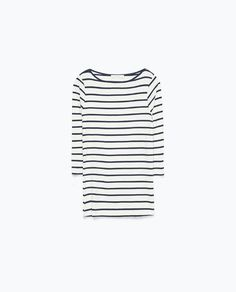 Image 8 of #JOINLIFE STRIPED 3/4 SLEEVE T-SHIRT from Zara