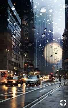 Rainy street view NYC