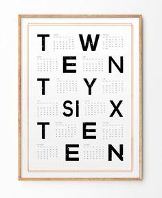 2016 calendar 2016 calendar poster Minimalist by ShopTempsModernes