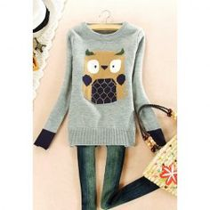 $12.61 Round Neck Cartoon Owl Print Long Sleeved Sweater For Women