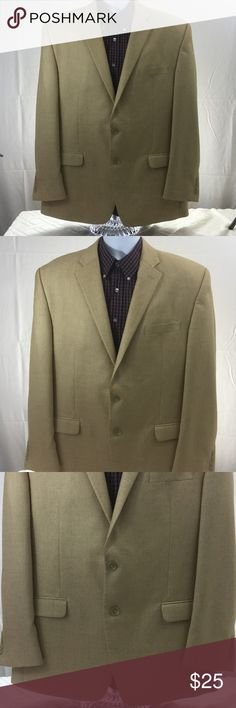 """❤ Vintage Chaps Linen Blend Sport Coat Blazer EUC Excellent used condition, no noted flaws. Men's size 46R. Color beige/tan. Two buttons on front. 82% Polyester, 10% Rayon, 8% Linen. Dry clean.  Aprox. Laying flat measurements: Across shoulders 20.5"""", sleeve 25.5"""", length 32.5"""".  Remember to bundle up and save more, so check my closet for more treasure finds. Chaps Suits & Blazers Sport Coats & Blazers"""