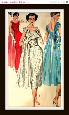 On SALE Vintage 1950s Pattern 1866 AMAZING Evening by anne8865,