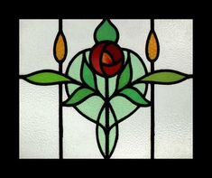 Stunning Mackintosh Rose Antique Stained Glass Window