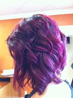 Curly Bob Purple Hairstyle