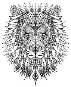 Free coloring page «coloring-adult-difficult-lion-head».