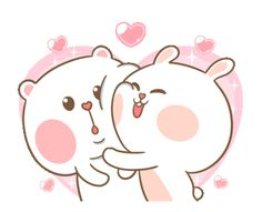 LINE Official Stickers - Sweet Marshmallow Couple 2 Example with GIF Animation Cute Love Pictures, Cute Love Memes, Cute Love Gif, Cute Cat Gif, Cute Images, Cute Bear Drawings, Cute Cartoon Drawings, Cartoon Gifs, Cute Couple Cartoon