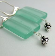 Earrings with Sea Green Glass Rectangles and Bali by jewelrybyroz, $24.00