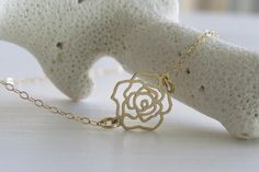 Gold Necklace - Delicate Flower Necklace - Goldfilled Flower Necklace - Thin Flower - Flower Pendant on Luulla