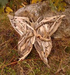 Driftwood Art, Butterfly, Totem, Hand Made, Driftwood, Tropical, Beach, Wall Art, Home Decor, Oak, Woodworking