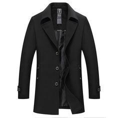 Wool & Blends Tireless 2018 Fashion Mens Woolen Coat Business Casual Windbreaker Slim Fit Coats Men Business Outwear High Quality Classic Trench Coat