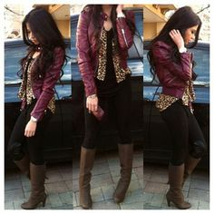 Burgundy leather jacket.. Love this whole outfit!