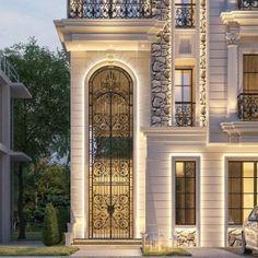 004 Classic House Exterior, Classic House Design, Dream House Exterior, Bungalow House Design, House Front Design, Small House Design, House Plans Mansion, Balcony Railing Design, House Ceiling Design
