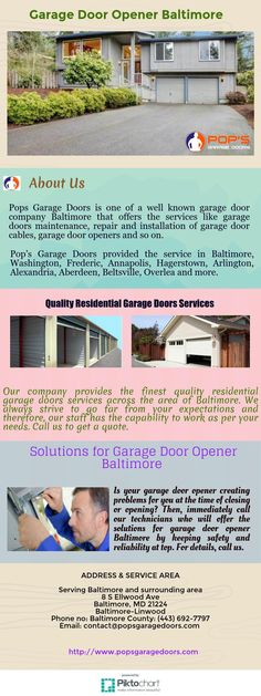 Pops Garage Doors is one of a well known garage door company Baltimore that offers the services like garage doors maintenance, repair and installation of garage door cables, garage door openers and so on. For taking service, feel free to call us.