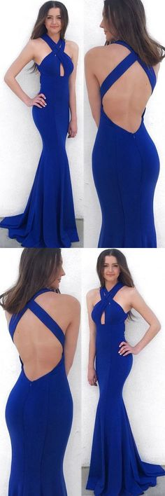 mermaid royal blue prom evening gowns with backless, fashion formal gowns with key hole for party0405 by RosyProm, $145.99 USD
