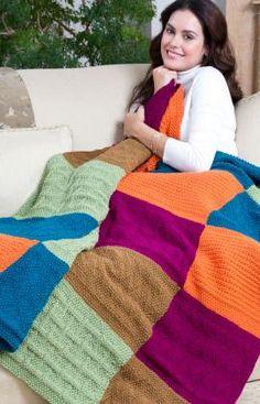 "Knitting - Free Pattern: ""Sampler Block Throw"" - Level: easy - Needles: 5.5mm [US 9]"