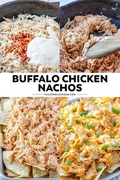 Crunchy tortilla chips are loaded with tender chicken, drenched in a spicy buffalo ranch sauce and smothered in cheese for the ultimate game day snack. These Buffalo Chicken Nachos are easy to whip up and are sure to please your hungry crowd! Chicken Thights Recipes, Chicken Parmesan Recipes, Chicken Salad Recipes, Chicken Nachos Recipe, Chicken Ideas, Dinner Ideas With Chicken, Pollo Buffalo, Buffalo Chicken Nachos, Buffalo Ranch