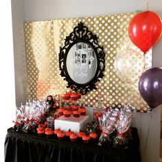Ever After High Party, Apple and Raven Queen Theme with Candy Apples, wicked witches mirrors and apple balloon.