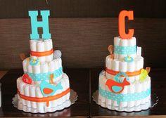Diaper cakes i made for twins